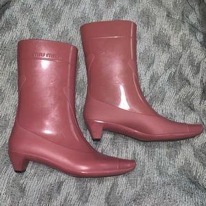 rubber Miu Miu pointed-toe rain boots